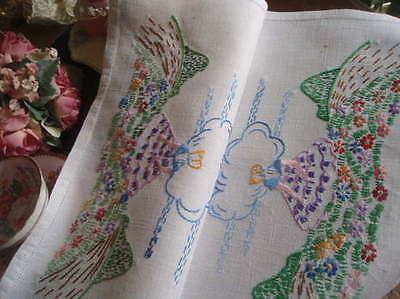 "Gorgeous Vintage Embroidered Crinoline Lady & Flower Meadow Tray Cloth 23""x 15"""