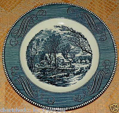 Currier & Ives by Royal China Royal Ironstone Dinner Plate Blue