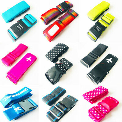 Luggage Suitcase Straps Heavy Duty Snap Buckle Neon easily Spotted Combination