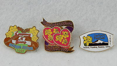 Lot of 3 Washington State Vintage Puyallup Valley Daffodil Festival  Hat Pin