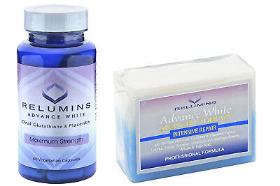 Relumins Whitening Set Advance Oral Glutathione + Stem Cell Intensive RepairSOAP