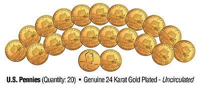Lot of 20 LINCOLN BICENTENNIAL 2009 Pennies UNC Coins 24K Gold Plated PRESIDENCY