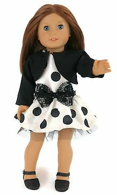 """Polka Dot Dress w/Bow & Black Jacket made for 18"""" American Girl Doll Clothes"""