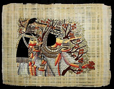 Rare Authentic Hand Painted Ancient Egyptian Papyrus Pharaoh Women in the Shade