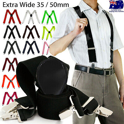35/50mm Extra Wide Men's Adjustable Elastic Suspenders Clip On Braces Trouser