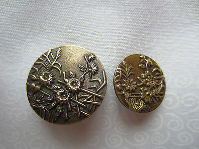 0832 – Two Beautiful Very Similar Brass Flower Garden Old Buttons