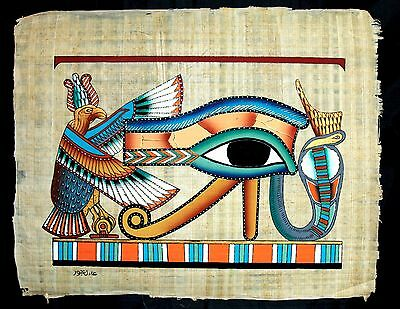 Rare Authentic Hand Painted Ancient Egyptian Papyrus Colorful Eye of Horus