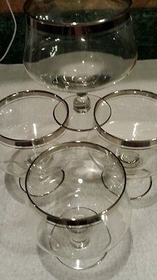 Beautiful silver lined glass cocktail glasses set of 4..bar. vintage