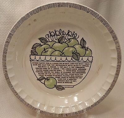 "Apple Pie Recipe Plate Royal China Jeannette 11"" Baking Dish Pan Baker VINTAGE"