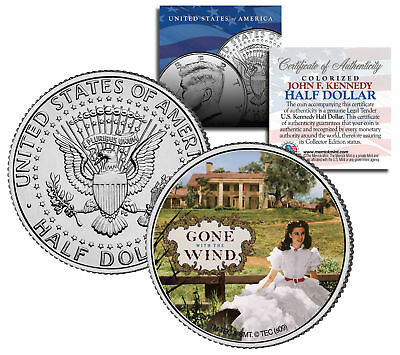 """Gone with the Wind """"Scarlett on Plantation"""" Kennedy Half Dollar US Coin Licensed"""