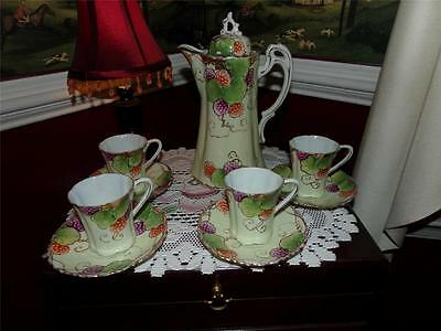 HAND PAINTED NIPPON  CHOCOLATE TEA SET 9 PIECES MARKED BERRIES