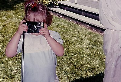 Old Vintage Photograph Adorable Little Girl Taking A Picture with Camera