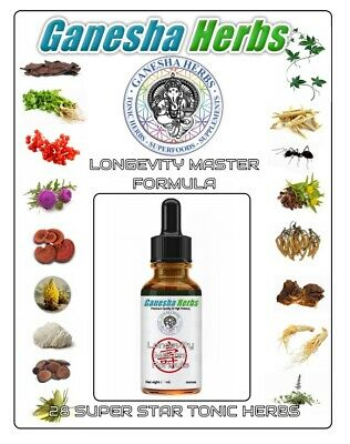 LONGEVITY MASTER FORMULA LIQUID TINCTURE EXTRACT 26+ SUPER TONIC HERBS!  1 ounce