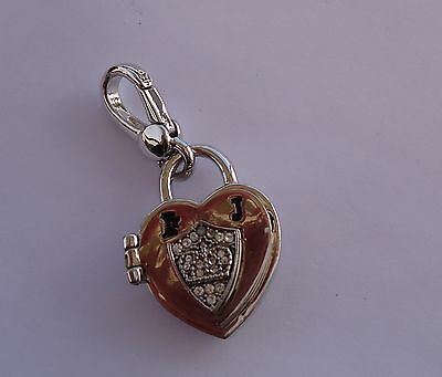 NWT Juicy Couture SILVER HEART PAD LOCKET w/CRYSTALS - BRACELET, NECKLACE CHARM