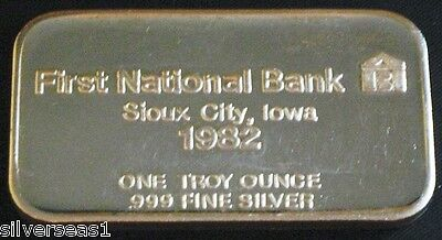 Rare 1982 First National Bank Of Sioux City Iowa ~Commercial Mint Silver Art Bar