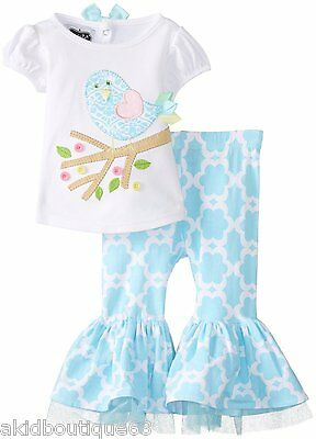 Mud Pie Easter Spring Girl Chick Turquoise  Ruffle Pant Set + Free HB