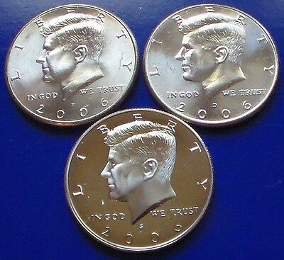 2006 P,D&S Two BU and A Gem Clad Proof Kennedy Half Dollar.