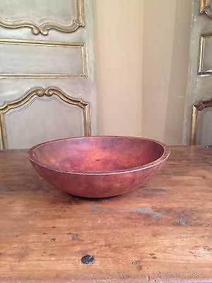 """Antique Hand Turned Wood Wooden Dough Bowl Bryant Pond Maine 13 1/4"""""""