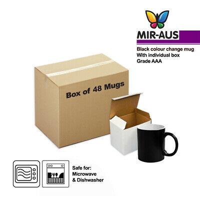 48 X Sublimation colour change mug black colour with gift box
