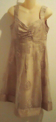 Mixit Formal Embroider Floral Sheer Party Dress Size 6 Sleeveless Color Beige
