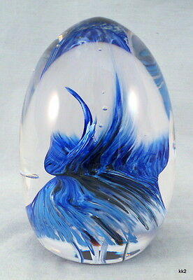 """Vintage Large Studio Glass Paperweight Blue & Black Swirls 4.75"""" Tall Unsigned"""