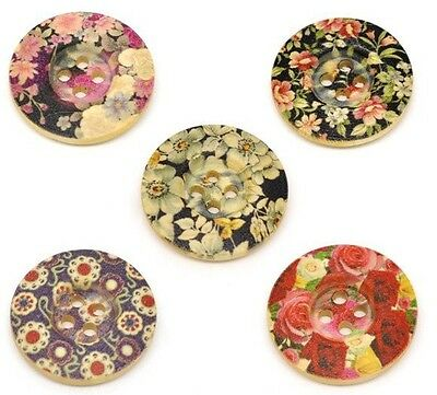 100pcs Mixed Round Flower 4 Holes Wood Painting Sewing Buttons Scrapbooking 25mm