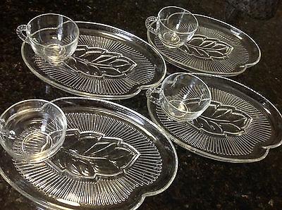 Vintage 50's/60's Federal Glass Co 8-PIECE SNACK SET In Box-4 Leaf Plates-4 Cups