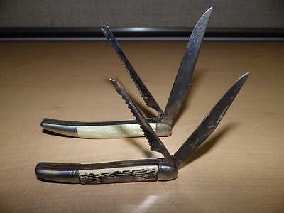 """Lot of 2 Fish Knives 1 Colonial Prov7.5"""" long--blade 3.25"""" Hammer Brand with MOP"""