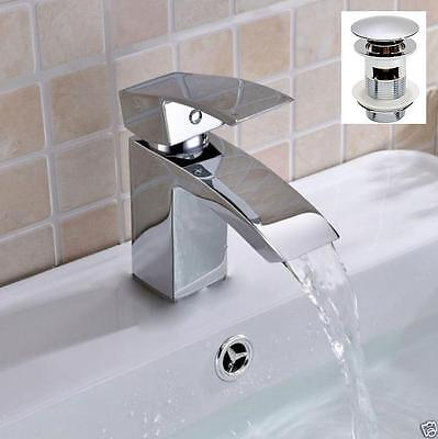 Bathroom Sink Basin Mixer Square Tap Chrome Solid Brass Single Lever A