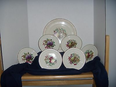 """HARKER POTTERY  22kGOLD EDGING  (1) 10""""PLATE  (6) 6""""PLATES  PEAR- APPLE AND PLUM"""