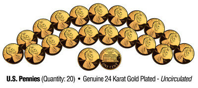 Lot of 20 Pennies Uncirculated U.S. Coins GENUINE 24K GOLD PLATED Lincoln Cent