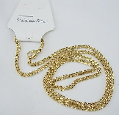 """21"""" Inch Pvd Gold 316L Stainless Steel Necklace Chain Link 2Mm,3Mm Thick"""