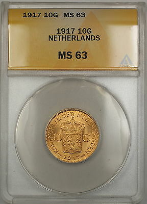 1917 Netherlands 10G Gulden Gold Coin ANACS MS-63