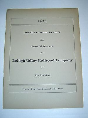 LEHIGH VALLEY RAILROAD COMPANY - 1926 - 73rd Annual Report - with MAP
