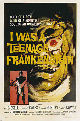 CLASSIC I WAS A TEENAGE FRANKENSTEIN MOVIE POSTER scary campy 24X36-PW0