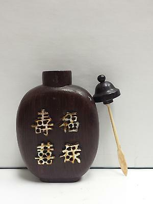 Antique Chinese Wooden and inlay mother of pearl Snuff Bottle
