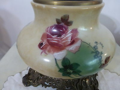 ANTIQUE SQUAT BASE WITH BEAUTIFUL ROSES ON ALL SIDES MADE BY CONSOLIDATED