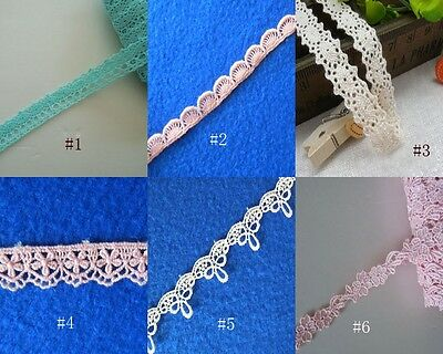 """2 Yards 3/8"""" - 3/4""""  Wide Lovely Floral Venise Cotton Lace Blue, Pink, Ivory"""