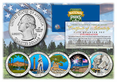 2013 America The Beautiful COLORIZED Quarters U.S. Parks 5-Coin Set w/Capsules