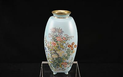 Unusual Shaped Antique Japanese Floral Cloisonne Vase with Silver Rim and Feet