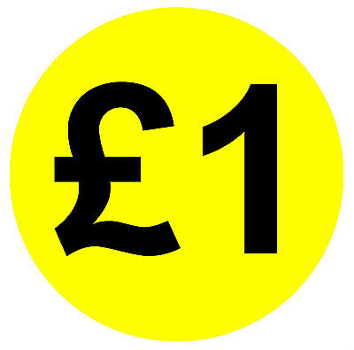 Large 45mm Bright Yellow & Black Price Point Stickers / Sticky Labels 99p £1 £2