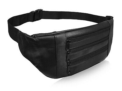 Real Leather FLAT Bumbag Waist Money Belt Holiday Travel Bum Bags Belts Bag R252