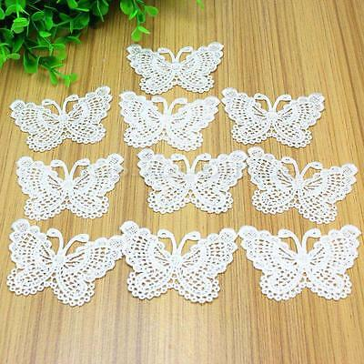 10Pcs White Butterfly Lace Embroidery Appliques Sewing Trim DIY Wedding Craft