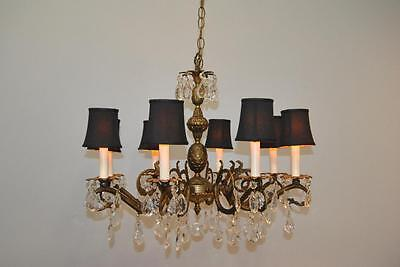 Antique French Style 8 Arm Brass & Crystal Chandelier