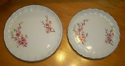 Vintage 40's W.S. George Peach Blossom 1 Salad 1 Bread Butter Plate