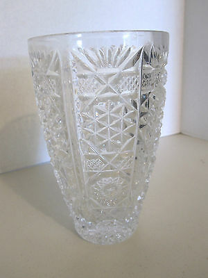 "BEAUTIFUL CUT CRYSTAL VASE - 7"" TALL - TINY DEFECT IN BASE"