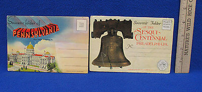 Vintage Philadelphia Pennsylvania Souvenir Folder Post Card Book  Lot of 2