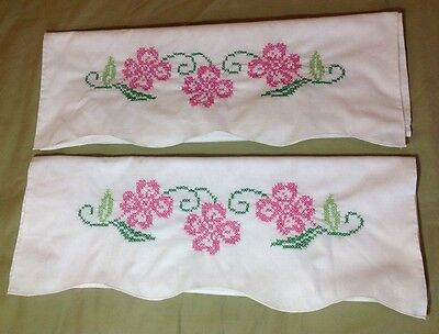 Vintage Hand Cross Stitched Embroidered Floral Pink Pillow Case Pair Set Flowers