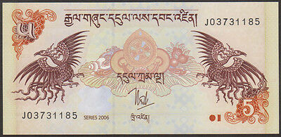 BHUTAN - 5  NGULTRUM  2006    -  P 28  LOT  5 PCS  Uncirculated Banknotes