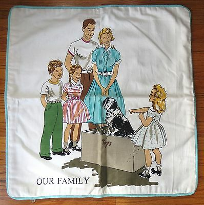 Wow Vintage Retro Mid Century Our Family Dog In Toy Trunk With Kids Pillow Case